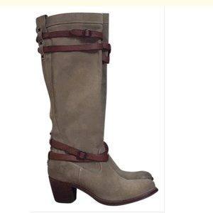 Frye Jane Strappy Suede Tall Taupe Boots